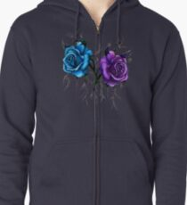 Decaying Tattoo Roses Zipped Hoodie