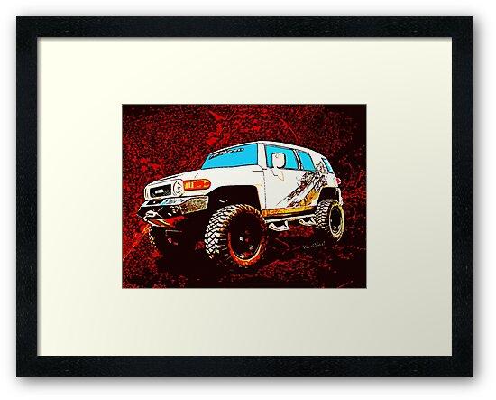 Láminas enmarcadas «Panel de dibujos animados Toyota FJ Cruiser 4x4 ...