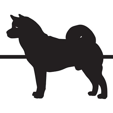 Heartbeat / Pulse - Male Akita Dog Silhouette  by SandpiperDesign