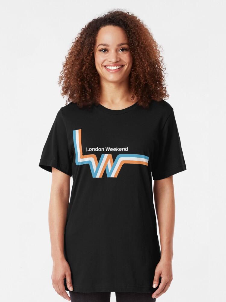 "Alternate view of Retro LWT ""ribbon"" television logo  Slim Fit T-Shirt"