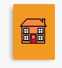 Retro TV Play School house logo graphic Canvas Print