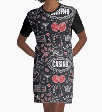 Casino theme. Seamless pattern with decorative elements on chalkboard. Gambling symbols.  Graphic T-Shirt Dress