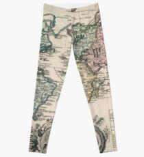 Vintage Map of The World (1753) Leggings