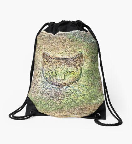 Cat on his way home Drawstring Bag