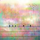 The Quickening, Abstract Art Birds on Wire by ItayaArt