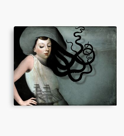 Girl with a sailing ship Canvas Print