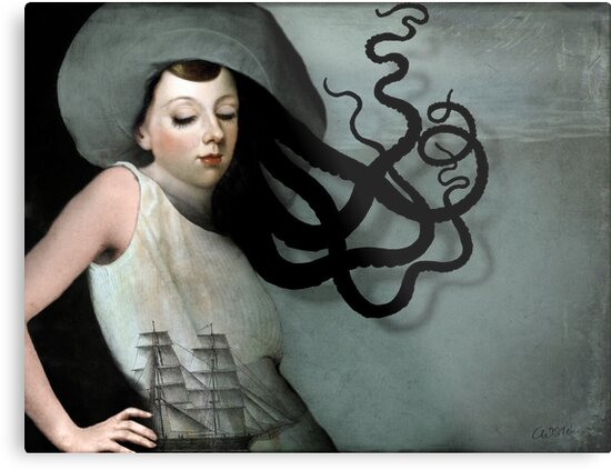 Girl with a sailing ship by Catrin Welz-Stein