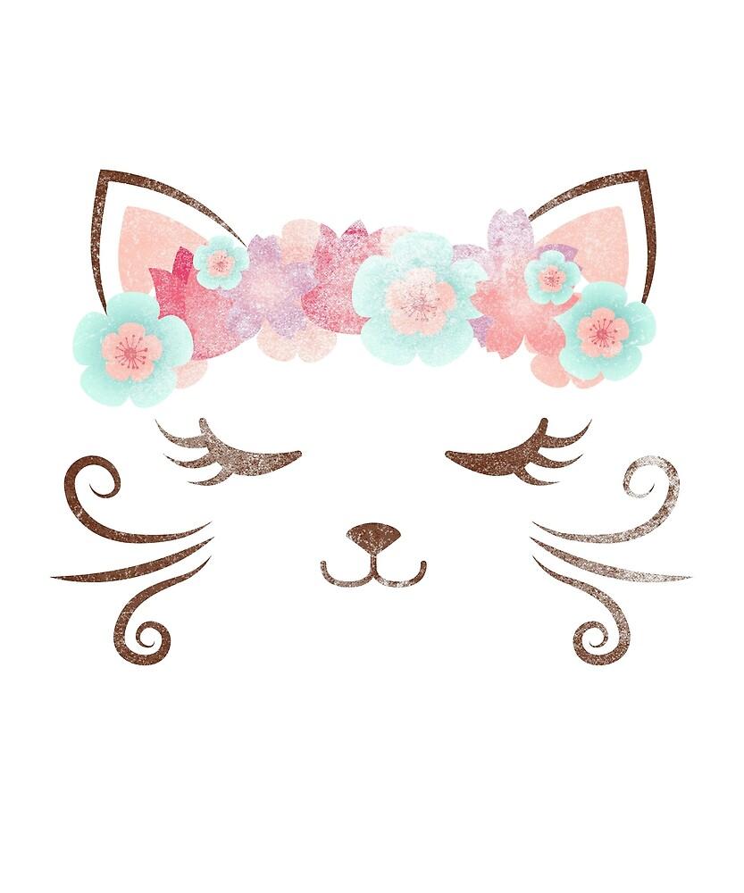 Vintage Kawaii Cat Kitty Kat Flower Crown Cute Cat Cat Party