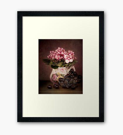 Violets And Grapes Framed Print
