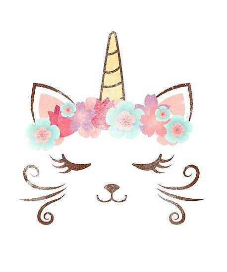 Vintage Kawaii Unicat, Kitty Kat, Einhorn, Blume Krone, süße Katze ...