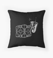 Claptrap and Companion Cube (White) Throw Pillow