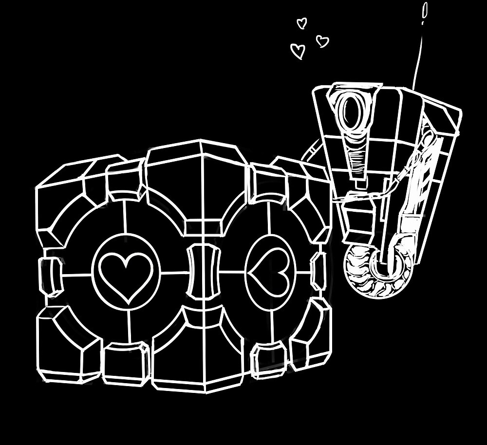 Claptrap and Companion Cube (White) by paulitricia