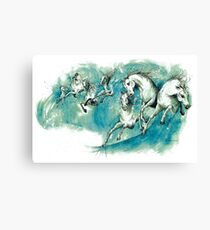 Horses In The Waves Canvas Print
