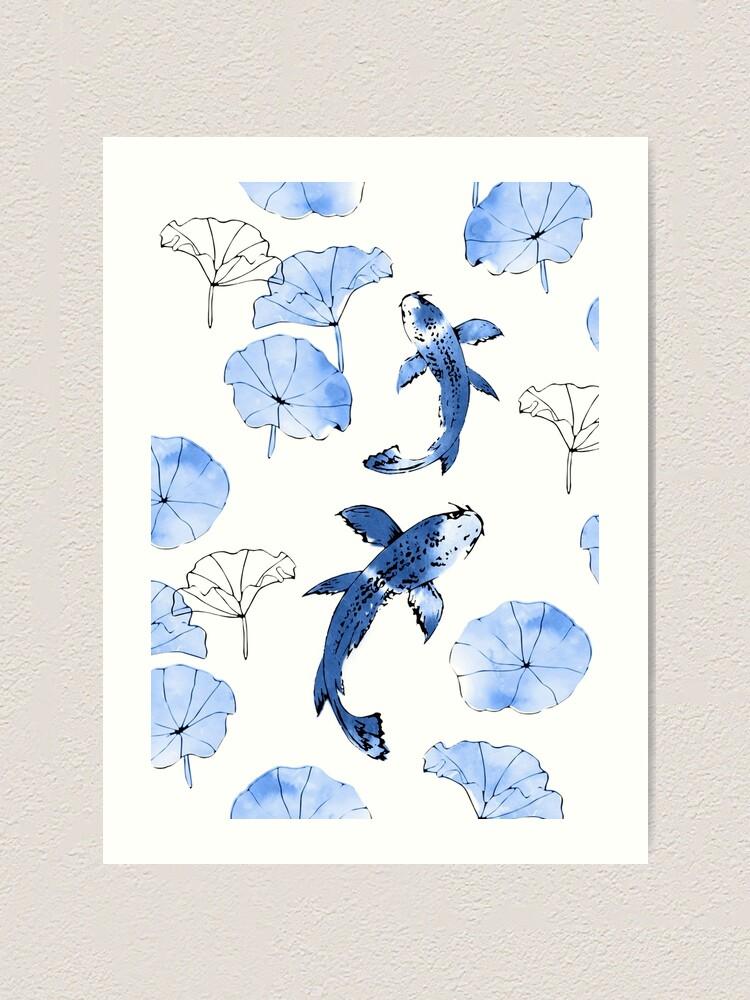 Alternate view of Waterlily koi in blue Art Print