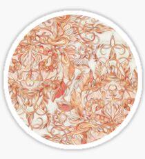 Autumn Peach Art Nouveau Pattern Sticker