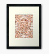Autumn Peach Art Nouveau Pattern Framed Print