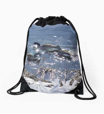 """Winter geese with a """"sparkle"""" ! Drawstring Bag"""