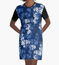 Sakura blossom in deep blue Graphic T-Shirt Dress