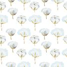 Pattern with watercolor painted cotton flowers. by Senpo