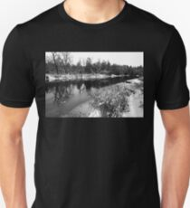 Touch Of Winter Black And White Unisex T-Shirt