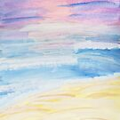 Pastel Watercolor Beach At Sunset by Express Yourself Artshop