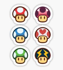 Pegatina Paper Mario - Set de pegatinas de hongos