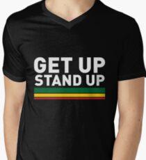 Camiseta para hombre de cuello en v Levántate Stand up / Reggae rasta vibrations