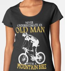 Never Underestimate An Old Man With A Mountain Bike Women's Premium T-Shirt
