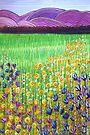 Pastel Art - Green Fields by Georgie Sharp