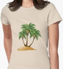 Cartoon island with palms Womens Fitted T-Shirt