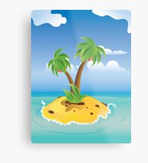 Cartoon Palm Island Metal Print