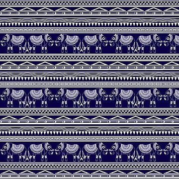 White and Navy Blue Elephant Pattern by julieerindesign