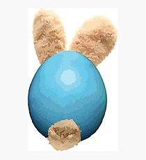 Easter Bunny Hatchling – Blue Photographic Print