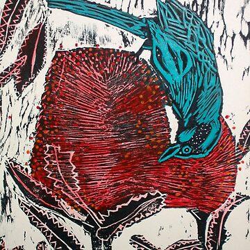 Blue Bird Woodcut by BillyLee
