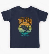 Bitte halten Sie das Meer frei von Plastik - Retro Turtle Kinder T-Shirt
