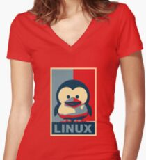 Linux Baby Tux Women's Fitted V-Neck T-Shirt