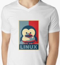Linux Baby Tux Men's V-Neck T-Shirt