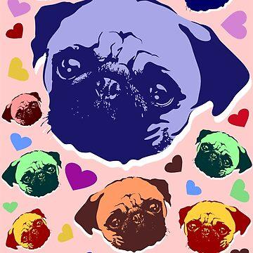 Pug Puppy Dog Love Hearts Pattern  by BluedarkArt