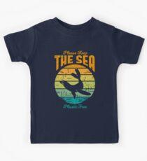 Bitte halten Sie das Meer frei Kunststoff - Retro-Siegel Kinder T-Shirt