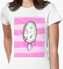 ute, Sweet and Tasty Pink, Black and White Ice Cream Dessert Food for Poster and Card Graphic Background Design For Girls. Women's Fitted T-Shirt