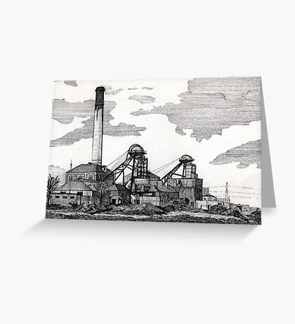 193 - WOODHORN COLLIERY, ASHINGTON - DAVE EDWARDS - INK - 1992 Greeting Card