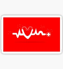 Abstract and Cute Red and White Health Medical ECG / Electrocardiogram Line with Heart and Stethoscope Sticker