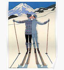 Weinlese George Barbier - Paar-Skifahren 1925 Fine Art Poster