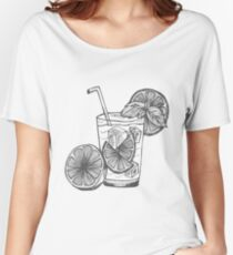 Black and White Sketch Hand Drawing Caipirinha Cocktail Alcohol Drinks Bar Beverage with Ice and Lime for Summer and Party Women's Relaxed Fit T-Shirt