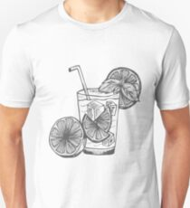 Black and White Sketch Hand Drawing Caipirinha Cocktail Alcohol Drinks Bar Beverage with Ice and Lime for Summer and Party Unisex T-Shirt