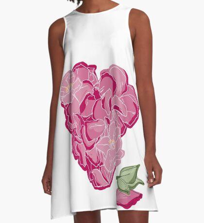Blumenherz A-Linien Kleid