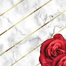Marble & Gold Red Roses by SoNifty