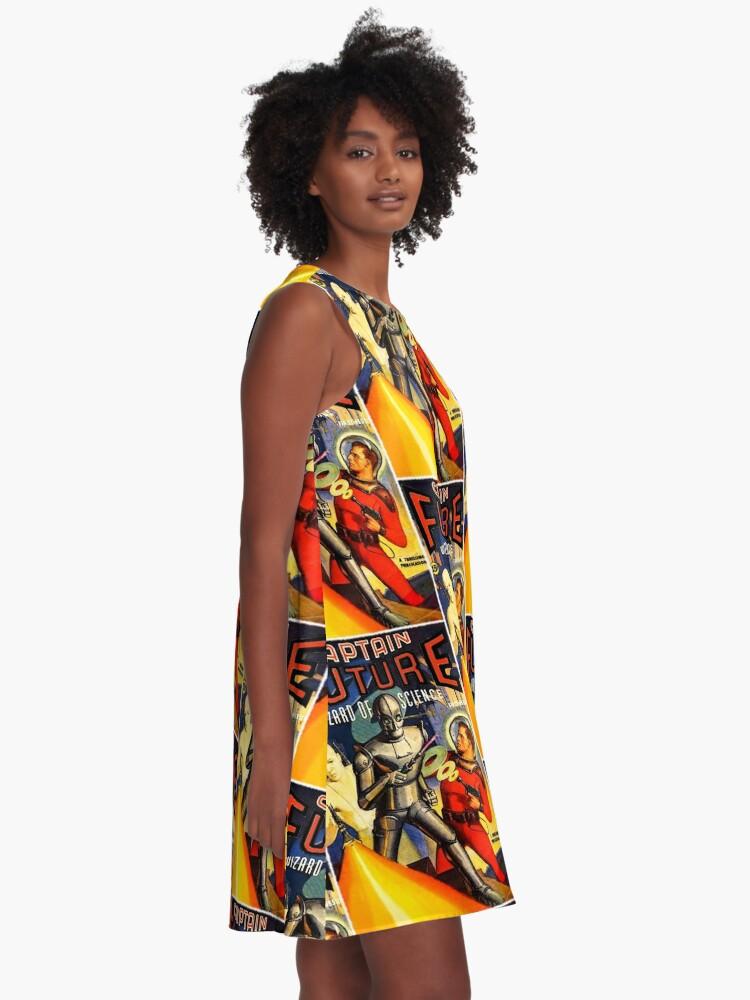 Alternative Ansicht von Retro Vintage CAPTAIN ZUKUNFT NR. 1 PULP MAGAZIN KUNST A-Linien Kleid