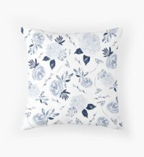 Floral Blossom - Midnight Blue Throw Pillow