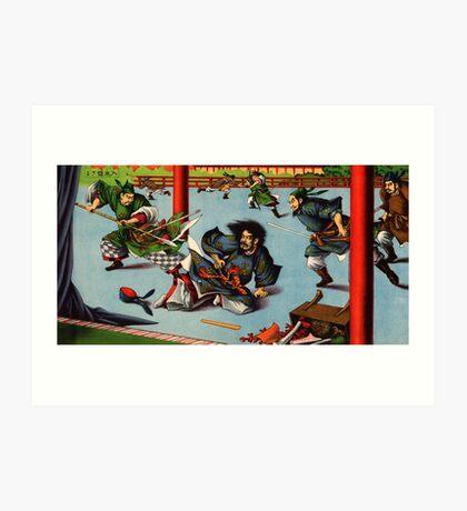 Ukiyo-e print of a Samurai battle scene Art Print
